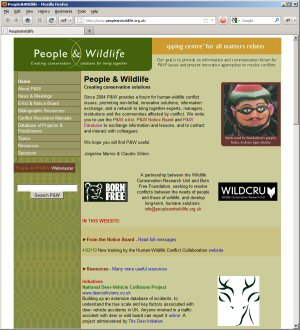 People and Wildlife Web Site Screen Shot